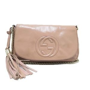 Gucci Soho Disco Beige Patent Leather Crossbody Ba